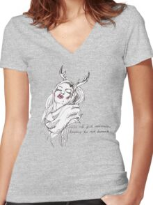 we're all just animals, trying to act human (black on white) Women's Fitted V-Neck T-Shirt