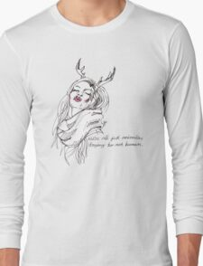 we're all just animals, trying to act human (black on white) Long Sleeve T-Shirt