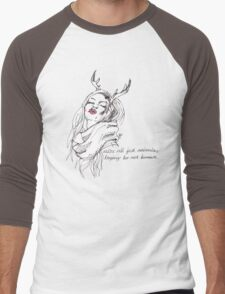 we're all just animals, trying to act human (black on white) Men's Baseball ¾ T-Shirt