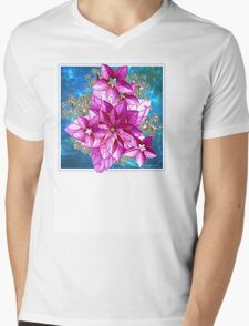 PINK FLOWERS Mens V-Neck T-Shirt