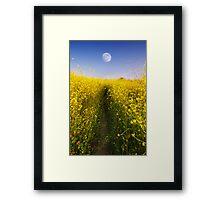 Moonrise over Yellow Framed Print