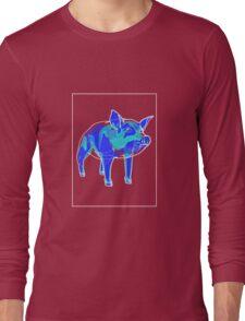 Pig Blue Green A Long Sleeve T-Shirt