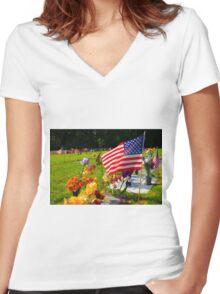 Memorials Women's Fitted V-Neck T-Shirt