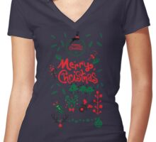 Christmas decoration Women's Fitted V-Neck T-Shirt