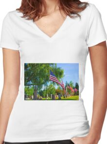 Monuments Women's Fitted V-Neck T-Shirt