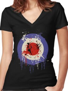 Mod Drip Splatter Women's Fitted V-Neck T-Shirt