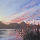 Sunset over Wisemans Ferry by Tash  Luedi Art