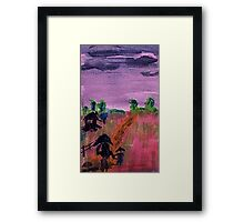 Walking home in the rain, watercolor Framed Print