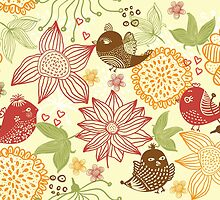 Doodle birds in flowers by Nataliia-Ku