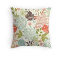 Doodle birds in flowers Throw Pillow