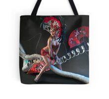 Las Vegas Dancer posing at futuristic background on club stage Tote Bag