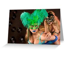 No identity, just feelings, bright carnival masks.. Greeting Card