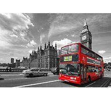 London Big Ben & Red Bus Photographic Print