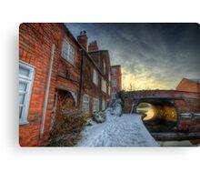 Snowy Canal Footpath Canvas Print
