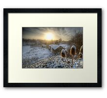 Country Snow And Sunrise Framed Print