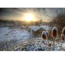 Country Snow And Sunrise Photographic Print