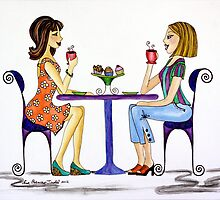 Coffee N Gossip ~ Nothing like a little girlfriend time! by Lisa Frances Judd ~ QuirkyHappyArt