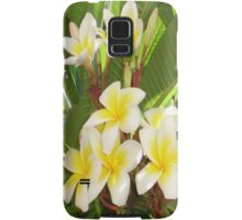 White and Yellow Frangipani Flowers with Leaves in Background  Samsung Galaxy Case/Skin