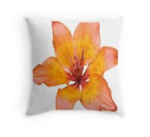 Coral Lily on White Throw Pillow