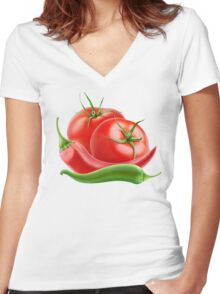 Hot sauce ingredients Women's Fitted V-Neck T-Shirt