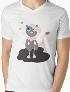 Walking Cat Mens V-Neck T-Shirt