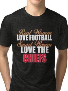 Real Women Love Football Smart Women Love The Chiefs Tri-blend T-Shirt