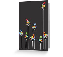 Tweeting Birds (White on Dark) Greeting Card