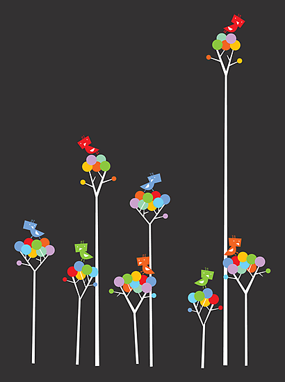 Tweeting Birds (White on Dark) by fatfatin