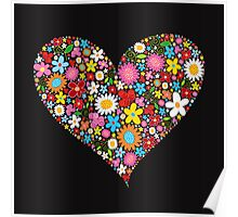 Spring Flowers Valentine Heart Poster
