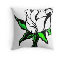 White flower,Green Stem Throw Pillow