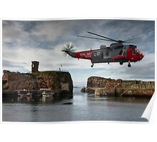 Hovering over Dunbar Harbour Poster
