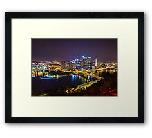 Pittsburgh CITYSCAPE view from Duquesne Incline After Dark 0998-A Framed Print