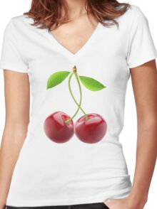 Pair of sweet cherries Women's Fitted V-Neck T-Shirt