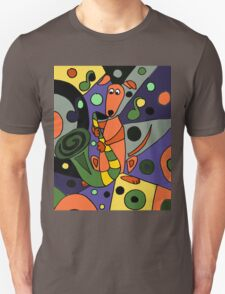 Cool Funky Greyhound Dog Playing Saxophone T-Shirt