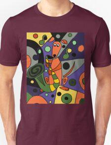 Cool Funky Greyhound Dog Playing Saxophone T-Shirt