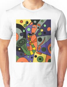 Cool Funky Greyhound Dog Playing Saxophone Unisex T-Shirt