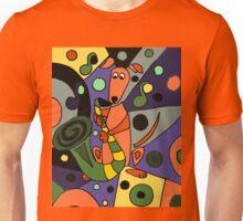 Cool Funky Greyhound Dog Playing Saxophone Unisex T-Shirt