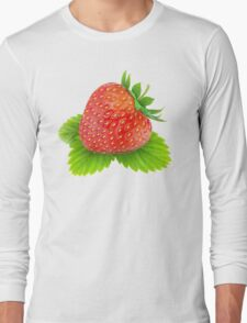 Beautiful strawberry on a leaf Long Sleeve T-Shirt