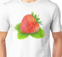 Beautiful strawberry on a leaf Unisex T-Shirt