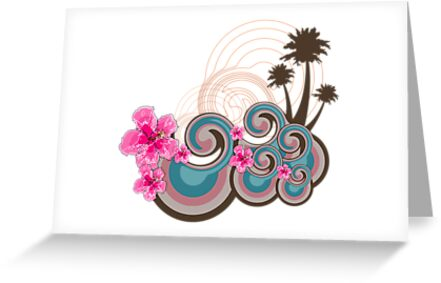 Tropical Waves & Pink Hibiscus by fatfatin
