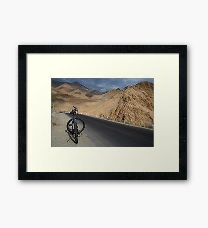 Mountain Biking down from Khardung La Framed Print