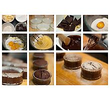 Chocolate Fondant - collage photo recipe Photographic Print