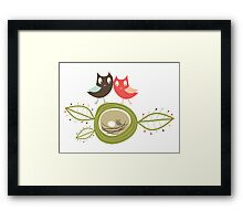 Whimsical Nesting Owl Family Framed Print