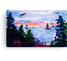 A cool day by the lake, watercolor Canvas Print