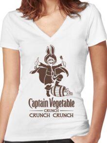 Captain Vegetable Women's Fitted V-Neck T-Shirt