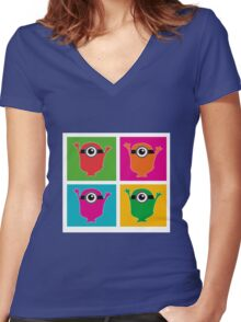 Colorful Minions Women's Fitted V-Neck T-Shirt