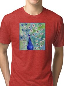 Peacock In Bloom Tri-blend T-Shirt