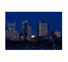 Pink moon, blue city Art Print