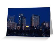 Pink moon, blue city Greeting Card