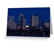 Pink moon, blue city Greeting Card